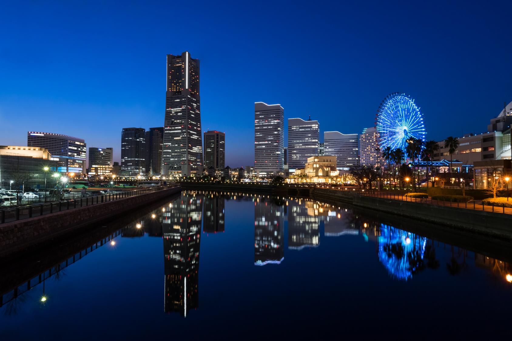 Cityscape of Minato Mirai area of Yokohama City at dusk () in Kanagawa, Japan.